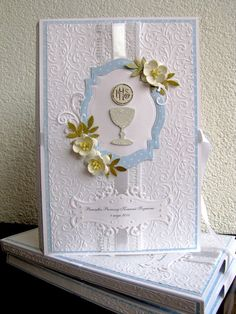 First Communion Cards, Holy Communion Invitations, Première Communion, First Holy Communion, Baptism Favors, All Craft, Diy Cards, Homemade Cards, Christening