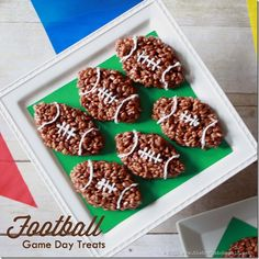 Football Themed Desserts are the perfect treats to serve during the Super Bowl Sunday celebrations. Super Bowl Sunday is in a few short weeks. Whether or not your team made it, if you are a football Football Treats, Football Food, Football Parties, Free Football, Football Desserts, Kids Football, Football Cheer, Rice Krispie Treats, Rice Krispies