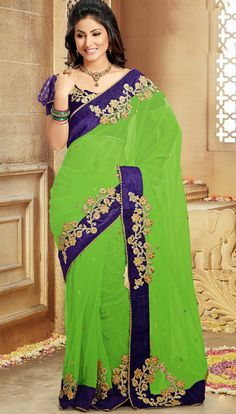 Saree is crafted with Resham, Sequins And patch work.