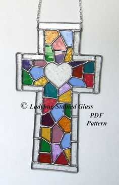 PDF PATTERN For Stained Glass Cross With by LadybugStainedGlass