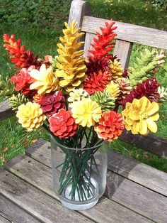 Basket of Pine cone flowers by