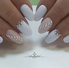 Almond Acrylic Nails, Cute Acrylic Nails, Almond Nails, Em Nails, Hair And Nails, Nail Ru, Fabulous Nails, Simple Elegance, Mani Pedi