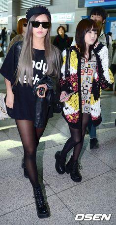 Qri & Boram from K-pop girl group T-ara on their way to Okinawa, Japan.