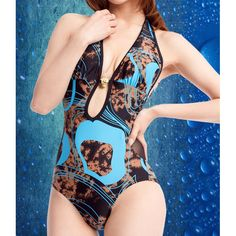 Sexy Halterneck Metal Embellished Printed One-Piece Swimsuit For Women, LAKE BLUE, L in Swimwear | DressLily.com