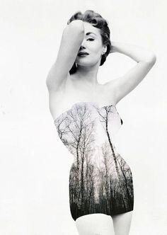 Merve Özaslan cria colagens vintage utilizando paisagens e fotografias antigas em preto-e-branco para questionar a relação entre natureza e humanidade.