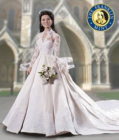 Royal Wedding (Kate Middleton) Vinyl Portrait Doll. It is made by Franklin Mint and is approximately 42 cm (16.5 in) high  http://franklin-mint.minimodelfilmstuff.co.uk/franklin-mint-collectable/kate-middleton-royal-wedding-vinyl-portrait-doll-franklin-mint-b11g665 The Kate Middleton bridal doll will feature an exact replica of the dress that will be worn in the wedding. The doll's wig will also reflect the hair style that is worn on her wedding day, and will feature a miniatur...
