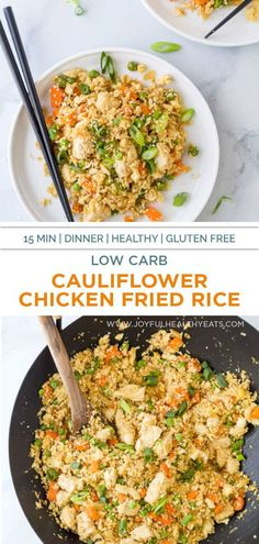 A 15 Minute Cauliflower Chicken Fried Rice that's low carb, high protein and flipping delicious! Better than takeout and healthier for you too. The perfect quick & easy dinner recipe that's only 205 calories per serving. #lowcarbrecipes #friedricerecipe #chinesefood #chickenfriedrice #stirfry #joyfulhealthyeats #chickenrecipes Gluten Free Recipes For Breakfast, Dinner Recipes Easy Quick, Healthy Gluten Free Recipes, Healthy Eating Recipes, Healthy Eats, Rice Recipes, High Protein, Fried Chicken, Joyful