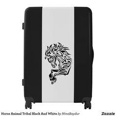 Horse Animal Tribal Black And White ,Designed by NinaBaydur Luggage Suitcase, Suitcase Packing, Painting Digital, Horses, Black And White, Elegant, Animals, Design, Classy