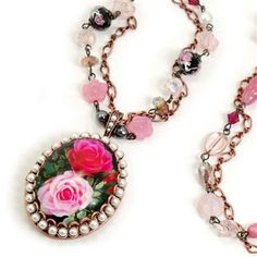 Painted Roses Locket Necklace