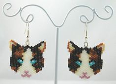Beaded Calico Cat Earrings by LazyRose on Etsy, $10.00