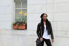Deanna Luvs You | Wearing moto jacket from Charlotte Russe, Forever 21 handbag, Adidas sneakers, Asos leggings + t-shirt in Atlanta, GA