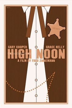 HIGH NOON (1952) - Gary Cooper - Thomas Mitchell - Lloyd Bridges - Katy Jurado - Grace Kelly - Otto Kruger - Produced by Stanley Kramer - Directed by Fred Zinneman - United Artists - Movie Poster.