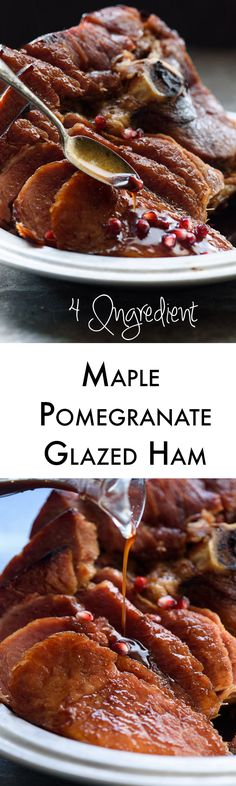 Maple syrup and pomegranate juice make a perfect glaze for a juicy ham. Top it with crunchy pomegranate arils for the perfect finish. This would be amazing for Easter dinner! Easy Asian Recipes, Fun Easy Recipes, Ham Recipes, Easy Meals, Cooking Recipes, Healthy Recipes, Juice Recipes, Yummy Recipes, Thanksgiving Recipes