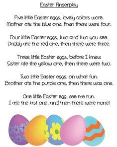 An Easter fingerplay poem and five beautiful eggs. Grade ONEderful.com BarbaraLeyne.com