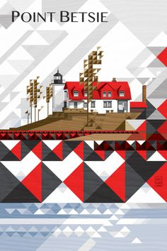 Point Betsie Lighthouse in November by Garth Glazier. A vertical variant on this design Graphic Prints, Graphic Design, Art Prints, Detroit Motors, Word Play, City Art, Quilting Designs, Lighthouse, Michigan