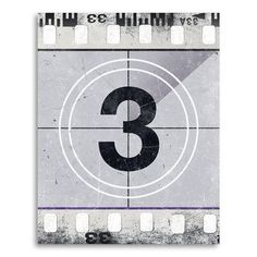 """Coco and James Movie Prints 'Movie Poster Film Reel Countdown Number 3' Graphic Art on Paper Size: 36"""" H x 24"""" W"""