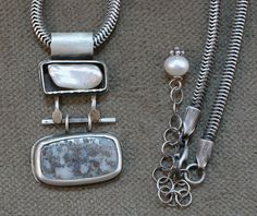 Pearl Box and Pyrite Quartz Dangle Necklace by MyskaJewelry $684.00
