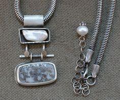 Pearl Box and Pyrite Quartz Dangle Necklace by MyskaJewelry $684.00