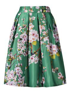Green Sakura Print High Waist Pleated Midi Skater Skirt