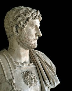"marmarinos: ""Roman bust of Emperor Hadrian, dated to the 2nd century CE. Marble. Photo taken by CORBIS. """