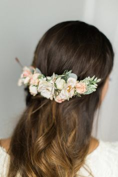 Bridal floral comb Blush bridal headpiece by OhDinaFlowerCrowns
