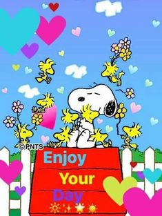Snoopy and Woodstock.Enjoy your day puzzle. Good Morning Snoopy, Good Morning Greetings, Good Morning Gif, Snoopy Images, Snoopy Pictures, Charlie Brown Quotes, Charlie Brown And Snoopy, Peanuts Cartoon, Peanuts Snoopy
