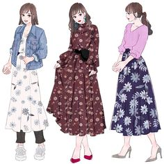 Anime Outfits, Girl Outfits, Cute Outfits, Fashion Outfits, Japanese Fashion, Korean Fashion, Cute Fashion, Fashion Art, Fashion Drawing Dresses