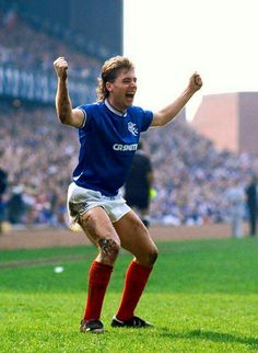 Rangers 3 Hearts 0 in April 1987 at Ibrox. Ally McCoist celebrates scoring a hat-trick Rangers Football, Rangers Fc, Old Firm, Glasgow, My Hero, Sporty, Running, Celebrities, Bears
