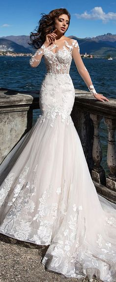 Fascinating Tulle Bateau Neckline See-through Bodice Mermaid Wedding Dress With Lace Appliques & Beadings #laceweddingdresses