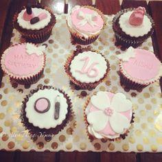 Sweet sixteen :) #cupcakes #sixteen #sixteenthbirthday #birthdayparty #butterfly #nailpaint #handbag #handle #bow #eyeshadow #flower #lipgloss #customisedcupcakes #atyummy