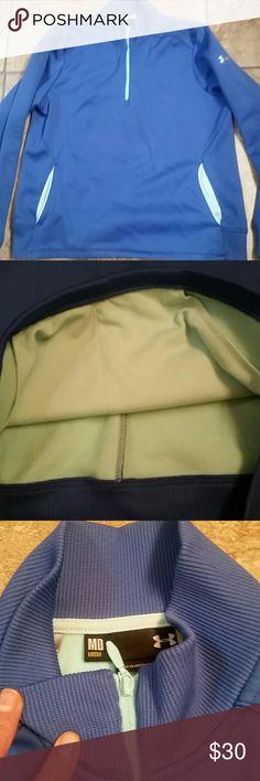 UA 1/2 Zip Sweater NWOT Blue UA Sweater with fleece interior.  Also has front pockets Under Armour Tops Sweatshirts & Hoodies