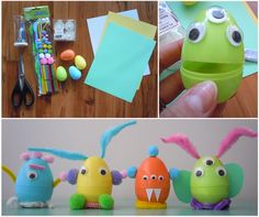 DIY Light Up Monsters for the perfect night light for kids. Make these with flameless candles and plastic Easter eggs for a fun and easy afternoon craft.