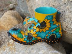 Painted work boot!  I love unique painted items