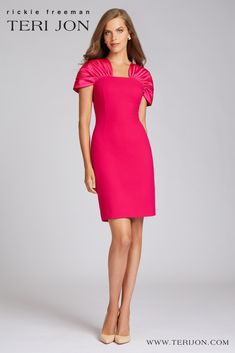 A simplicite design made in a gorgeous Fuschia with taffeta sleeves that adds charm. This knee length dress will flatter most body types and will hang straight. Looking good from every angle, it is perfect for a holiday party, cocktail party, or engagement party. Party Wear, Party Dress, Navy Cocktail Dress, Backyard Weddings, Crepe Dress, Special Occasion Dresses, Body Types, Bridal Style, Mother Of The Bride