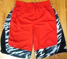 ADIDAS Mens POLYESTER ATHLETIC/BASKETBALL SHORTS RED, BLACK & WHITE EUC Sz XL