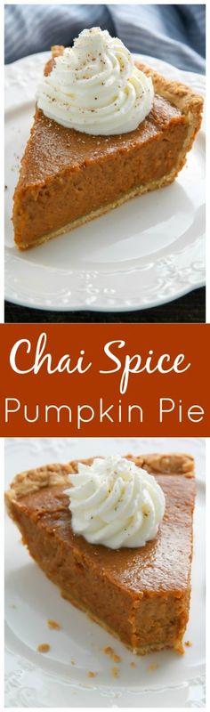 Spice Pumpkin Pie Chai Spice Pumpkin Pie - every bite is silky smooth!Chai Spice Pumpkin Pie - every bite is silky smooth! Pumpkin Recipes, Pie Recipes, Fall Recipes, Holiday Recipes, Dessert Recipes, Donut Recipes, No Bake Desserts, Just Desserts, Delicious Desserts