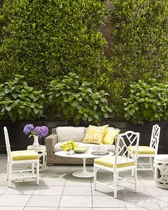 Palmer Weiss, San Francisco home renovation, Jonathan Adler Chippendale chairs and a Saarinen cocktail table on the terrace Outdoor Rooms, Outdoor Living, Outdoor Furniture Sets, Outdoor Decor, Outdoor Lounge, Fresco, Restoration Hardware Sofa, Home Renovation Loan, Bliss Home And Design