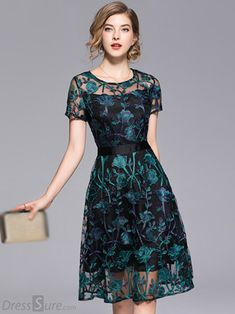 See-Through O-Neck Short Sleeve Embroidery Fit & Flare Dress - See-Through O-Neck Short Sleeve Embroidery Fit & Flare Dress – DressSure Source by lorenaerez - Dress Outfits, Casual Dresses, Fashion Dresses, Formal Dresses, Dresses Dresses, Skater Outfits, Skater Dresses, Formal Wear, Maxi Dress With Sleeves