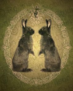 I love bunnies. Would like this in an antique frame for pipers room.