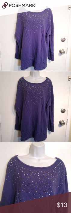 """🌟5 for $25🌟 DKNY Studded Oversized Sweatshirt DKNY Jeans Oversized sweatshirt with studded embellishments. Scoop neck. Warm and cozy. Navy blue/purple color. Size XL. Measures 27.5"""" flat from armpit to armpit and 30.5"""" long. No modeling. Smoke free home. Everything in my closet is 5 for $25! Dkny Tops Sweatshirts & Hoodies"""