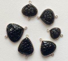 6 Pcs Black Tourmaline Hand Carved Floral by gemsforjewels on Etsy
