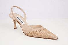Garbo Sling Beige: Sophisticated sling back in ruched whip snake. Handmade in Italy.
