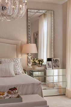 luxury homes, bedroom ideas, luxury design . See more inspir . Check out this Elegant bedroom design decor with the new pantone color of the year: the rose quartz Glam Bedroom, Home Bedroom, Feminine Bedroom, Modern Bedroom, Contemporary Bedroom, Bedroom Neutral, Bedroom Photos, Bedroom Mirrors, Bedroom Wallpaper
