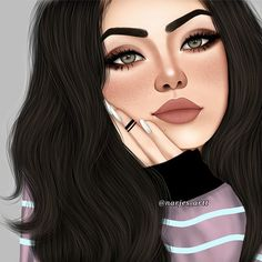 Digital Art Girl Face Anime Ideas For 2019 Beautiful Girl Drawing, Cute Girl Drawing, Beautiful Drawings, Beautiful Pictures, Best Friend Drawings, Girly Drawings, Cartoon Drawings, Girl Cartoon, Cartoon Art