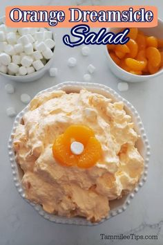 Easy Orange Dreamsicle Salad Recipe is perfect for family dinners, potlucks, barbecues, or a snack. Tastes just like an orange creamsicle but in a jello fruit salad form. All you need is five ingredients and a few minutes to make this easy no bake dessert salad recipe. Jello Dessert Recipes, Potluck Desserts, Dessert Salads, Easy No Bake Desserts, Fruit Salad Recipes, Cake Mix Recipes, Fruit Salads, All You Need Is, Dreamsicle Salad Recipe
