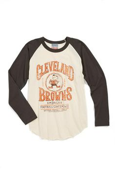 6342aab6c68 Junk Food  Cleveland Browns  Raglan Long Sleeve T-Shirt (Little Boys  amp