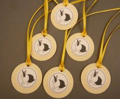 6 Bunny Tags. Yellow and White Bunny or Rabbit by buttonsbyrobin3