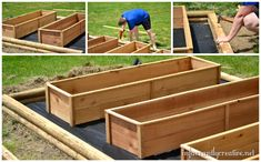 Building raised cedar beds. I love how she laid the landscaping cloth under all of her beds & then just covered with gravel.