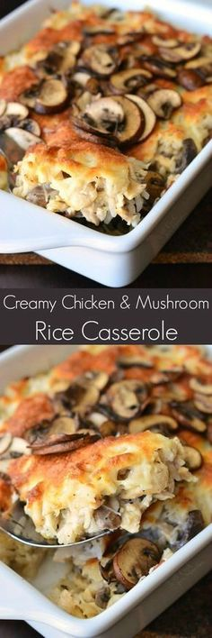 Creamy Chicken Mushroom Rice Casserole - Delicious, creamy, cheesy rice casserole made with lots of mushrooms and chicken. This casserole will make a perfect family dinner that everyone will love. Chicken Mushroom Rice, Chicken Mushrooms, Cheesy Rice And Chicken, Creamy Chicken Enchiladas, Mushroom Dish, Great Recipes, Favorite Recipes, Popular Recipes, Casserole Dishes