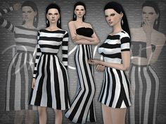 The Sims Resource: SET 09 - Black and White Striped Set by DarkNighTt • Sims 4 Downloads